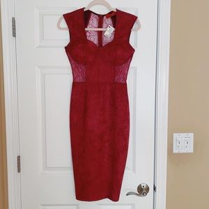 STUNNING burgundy lace-back midi dress !!